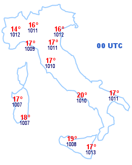 Cartina Italia 00 UTC