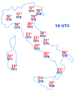 Cartina Italia 10 UTC