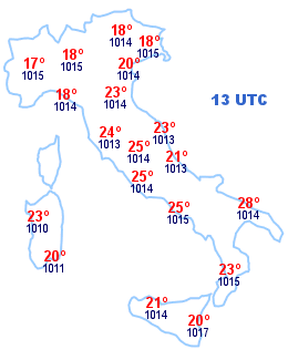 Cartina Italia 13 UTC