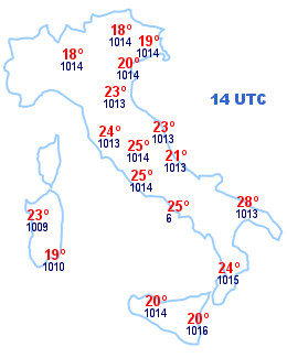 Cartina Italia 14 UTC