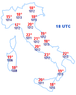 Cartina Italia 18 UTC