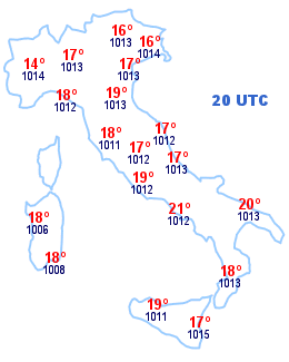 Cartina Italia 20 UTC
