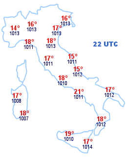 Cartina Italia 22 UTC